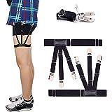 Soko Mesh Men's Shirt Stays Adjustable Shirt Holders Crease-Resistance Belt Stirrup Style Suspenders