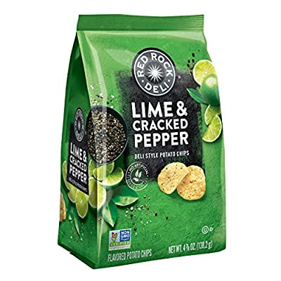 Red Rock Deli Lime & Cracked Pepper Flavored Deli Style Potato Chips, 4.88 Ounce