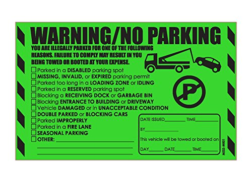 "MESS Parking Violation Stickers Warning Reserved, Handicapped, Private Parking and More / Hard To Remove from Cars and Very Sticky Permanent Adhesive (50-Pack) 8"" x 5"" by MESS"