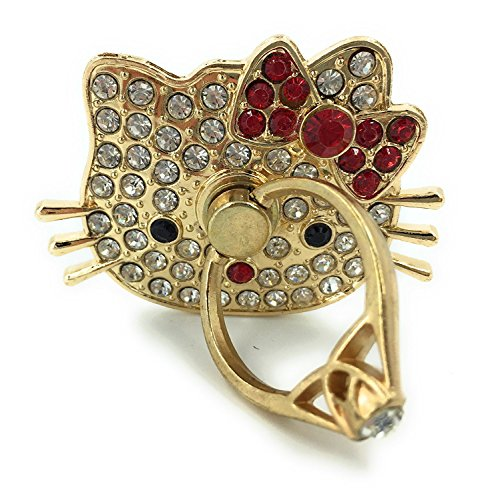 Hello Kitty Finger Ring Stand, Rhinestone Crystal Bling Diamond 360° Rotation Cell Phone stent Holder Grip (Red) ()