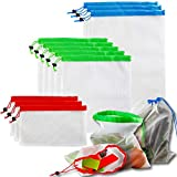 WeTest 12 Pcs Reusable Mesh Produce Bags, Berosy Washable Lightweight Mesh Bags, for Fruit, Vegetable, Grocery, 3 Various Sizes(8 x 12in, 14 x 12in, 17 x 12in)