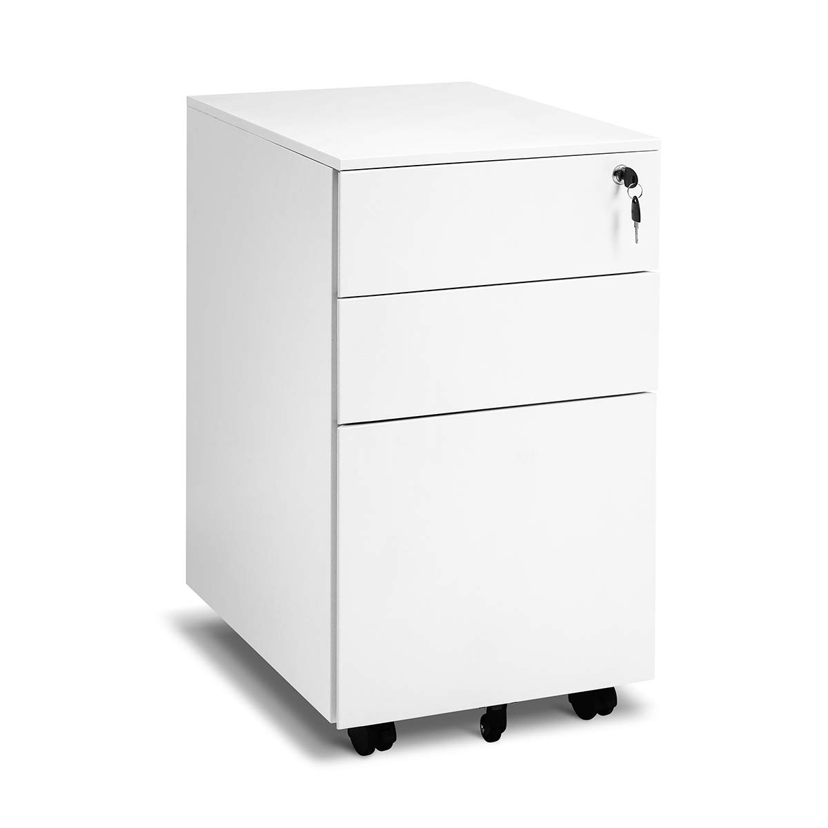 Locking File Cabinet Rolling Metal Filing Cabinet 3 Drawer Fully Assembled Office Pedestal Files Except Wheel(White C) by Superday
