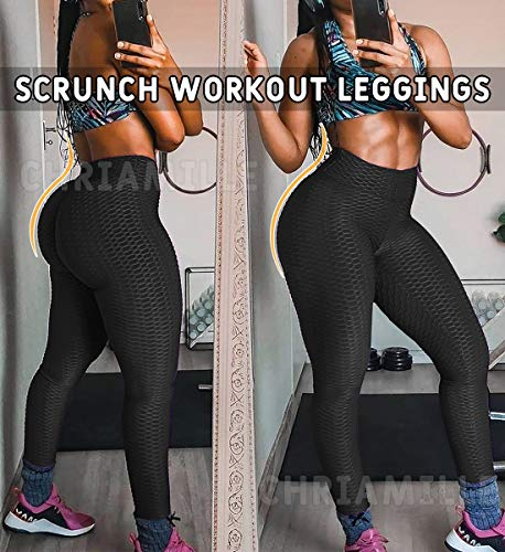 Chriamille Textured Yoga Pants High Waisted Booty Scrunch Ruched Butt Leggings for Women Lift Leggings Anti Cellulite