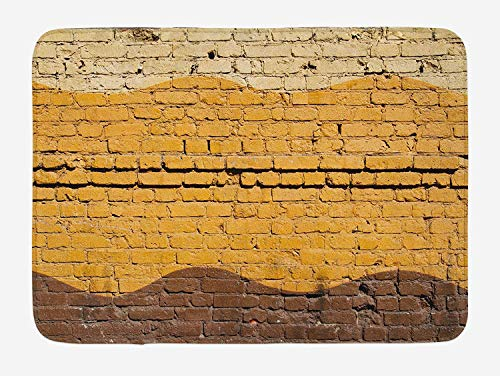 (Tan and Brown Bath Mat, Urban Architecture Weathered Old Brick Wall Different Colored Waves, Plush Bathroom Decor Mat with Non Slip Backing, 23.6 W X 15.7 W Inches, Yellow Beige Brown)