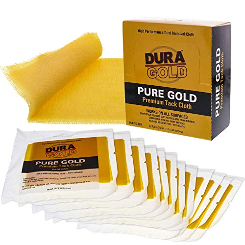 Dura-Gold - Pure Gold Premium Tack Cloths - Tack Rags (Box of 12) - Woodworking and Painters Professional Grade - Removes Dust, Sanding Particles, Cleans Surfaces - Wax and Silicone Free, Anti-Static