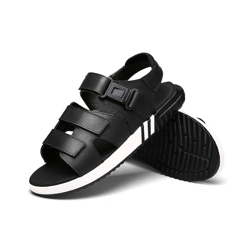 LYZGF Männer Junge Leder Studenten Casual Sandalen Fashion Lovers Strand Leder Junge Hausschuhe schwarz 02260b