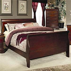 coaster fine furniture 200431q louis philippe style sleigh bed queen cherry finish