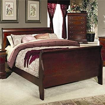 Coaster Fine Furniture 200431q Louis Philippe Style Sleigh Bed, Queen,  Cherry Finish