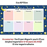 HITSAN magnetic chores chart dry erase board wall sticker kids weekly planner to do list reward chart 60 40 cm 8050ZLB02-2