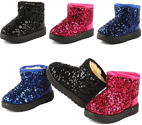 DADAWEN Boy's Girl's Sequin Waterpoof Snow Ankle Boots