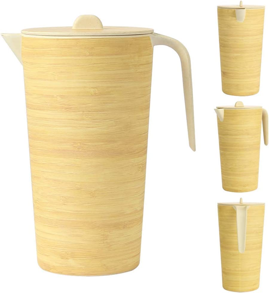Reusable Water Juice Jug Carafe Eco-Friendly Bamboo Water Jug with Lid for Indoor /& Outdoor Use Space Home Square Design BPA-Free Plastic Alternative Drinks Jug