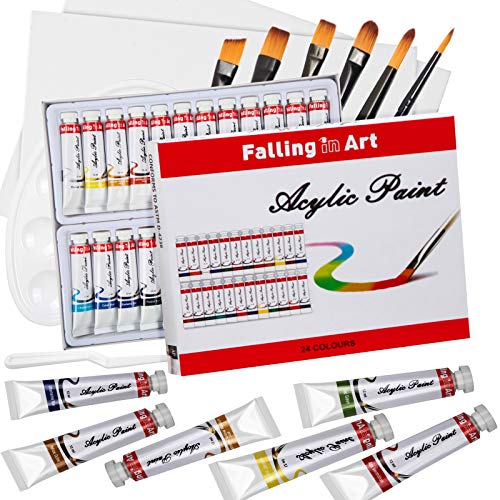 Falling in Art 26 Tubes Acrylic Paint Set with Canvas, Brushes, Palette – 36 Pieces Artist Acrylic Painting Tools Set…