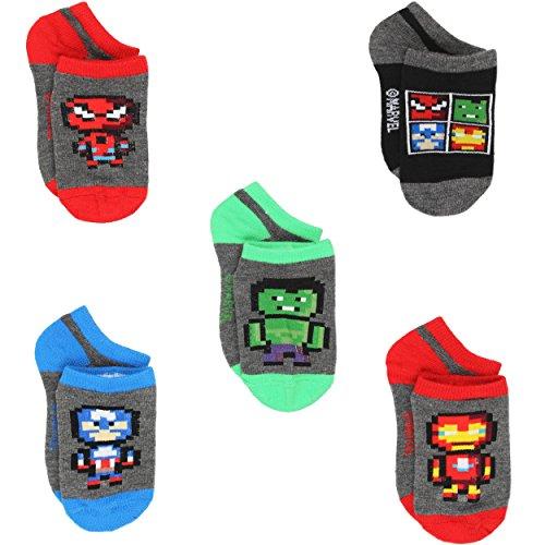 Avengers Boys Multi pack Socks (4-6 Toddler (Shoe: 7-10), Pixel Heroes 5 pk) from Marvel