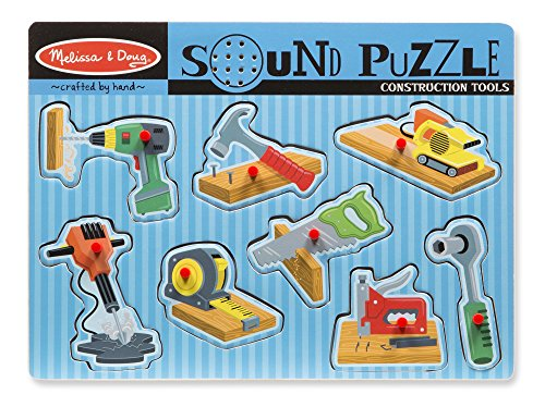 Melissa & Doug Construction Tools Sound Puzzle - Wooden Peg Puzzle (8 pcs)