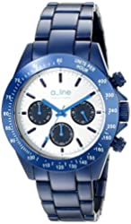 a_line Women's AL-20050-NB-SL Amore Chronograph Silver Dial Navy Blue Aluminum Watch