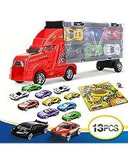 LENBEST Camión Transportador, Coches Juguete para Niños, Un Total 12 Coches, Maletín Portacoches - 6 Colores, Cada 1 Color Tiene 2 Coches, 3 Años o Más Jugar