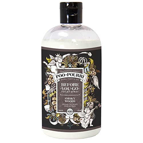 Poo-Pourri Before-You-Go Toilet Spray 16 oz Refill Bottle, Smoky Woods Scent (Sprayer Not Included)