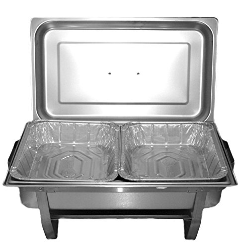 TigerChef TC-20520 Chafer Pans Set, Includes 3 Full Size Aluminum Steam Table Pans, 6 Half Size Aluminum Foil Pans with 6 Lids and 6 Gel Fuel Cans by Tiger Chef (Image #1)