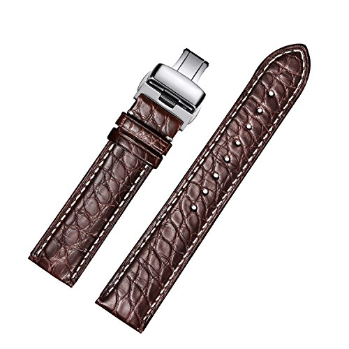 EHHE ZPF Alligator Replacement Leather Watch Band with Deployment Buckle for Men and Women(18mm,19mm,20mm,21mm,22mm,23mm or 24mm) 20 Mm Curved Tube