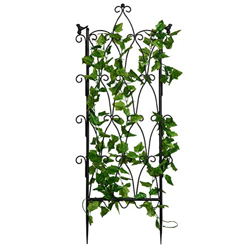 (MyGift Antique Scroll Metal Garden Trellis Plant Support for Climbing Plants)