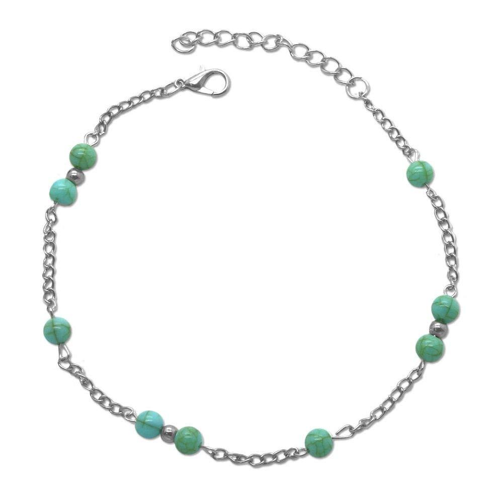 tumundo Cha/îne de Cheville Boule Perle Turquoise Bijoux Bracelet Argent Femmes Filles Figaro Sandal Anklet Chevill/ère