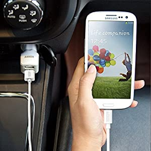 Anker 4.8A / 24W 2-Port USB Car Charger with PowerIQ Technology + 3ft Micro USB Cable for Samsung Galaxy S6 / S6 Edge, Nexus, HTC M9, Motorola, Nokia and More (White)