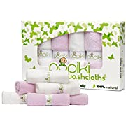"Pupiki Baby Washcloth Set: Ultra-Soft 6-Pack 100% Organic Bamboo Baby Washcloths/ Hypoallergenic, Reusable, Extra-Absorbent 10""X10"" Infant Wipes for Boys & Girls/Great Baby Shower Gift / White & Pink"