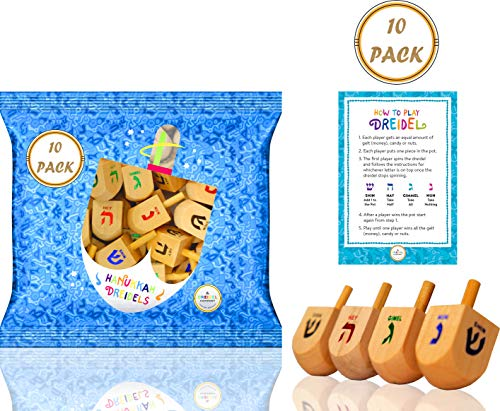 Sale!! The Dreidel Company Wood Dreidels Medium Sized with English Translation (10-Pack) - Instructi...