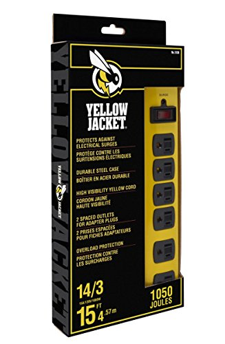 Yellow Jacket 5138 Metal Surge Protector Strip, 15-Foot Cord, (Coleman Power Strip)