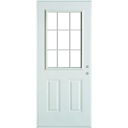 Stanley Doors Colonial 9 Lite 2 Panel Painted Steel Entry Door With