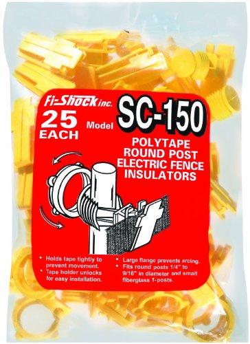 (Fi-Shock SC-150 Yellow Polytape Round Post  Insulators, 25-Per Bag)