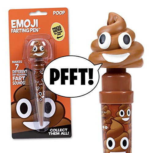 Talking Emoji Poop Pen - Makes 7 FUNNY FART SOUNDS - the Funniest Farting Friend Ever - Cute for Kids, Tweens and Teen Parties
