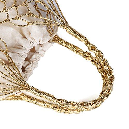 con chic Oro intrecciata borsa a oro maglia bag estate mano beach borsa tote donna a manico Yunhigh con cotone intrecciata cordino ad anello mano per a mano coulisse in e BxWzgqnC7w