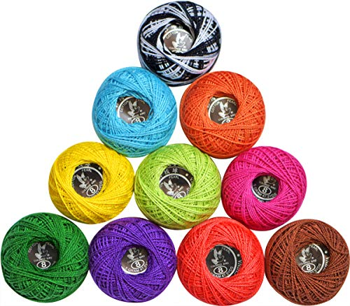 Cotton Crochet Thread Balls Soft 10g Size 8 Rainbow Perle ,Cotton Knitting Threadr Balls(9 Solid and 1Variegated) for Crochet, Hardanger, Cross Stitch. All Different Colors.10balls a Set LE ()
