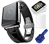 Saturn Bands B42-SS Stainless Steel Replacement Band for 42mm Apple Watch Bundle with Link Removal Tool & Adjustment Screwdriver & Clear Watch Case  - Black / Space Grey