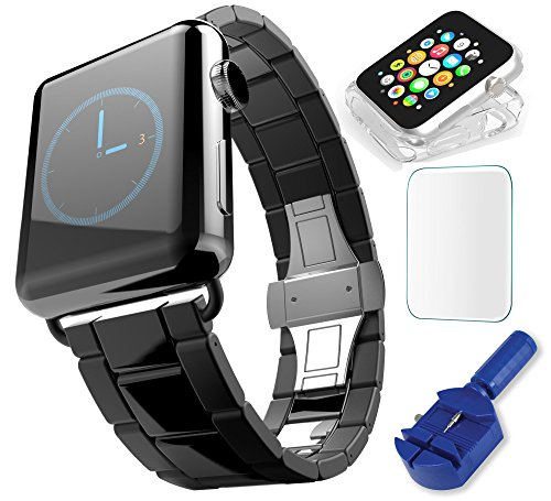 Apple Watch Band  Black Space Gray Stainless Steel Best Metal Strap Replacement Guaranteed  Quality  Includes Link Removal Tool   Screwdriver   Clear Case   Screen Protector  Enhance Your Style