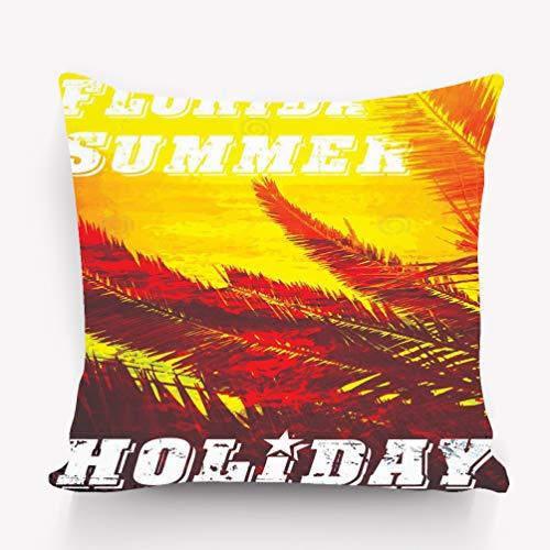 YILINGER Throw Lumbar Pillow Case Cushion Cover Decorative Cotton Blend Linen Pillowcase for Sofa Rectangle 18X18 Florida Grunge Background Vintage Design Typography Print Poster Banner fl
