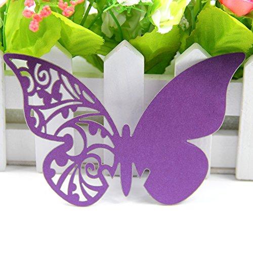 Table Mark Wine Glass Cards Favor Butterfly Purple - 2