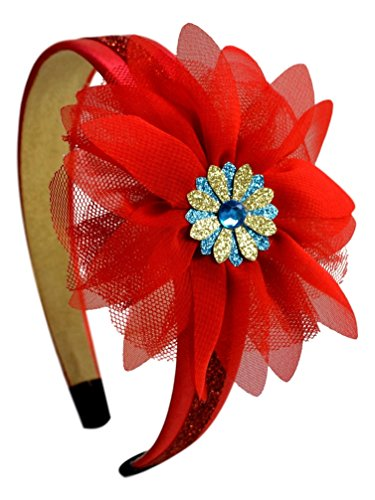 Latina Princess Sparkling Glitter Satin Arch Headband with Tulle and Organza Flower