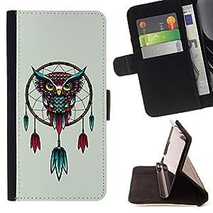 /Skull Market/ - Dream Catcher Owl Art Turquoise Red Drawing For HTC DESIRE 816 - Caja de la carpeta del tir??n del cuero de la PU [con ranuras para tarjetas y cierre de solapa magn? -