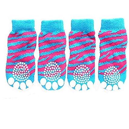Tiger Grano diseño de huellas de punto antideslizante Walking calcetines de perro (4 unidades,