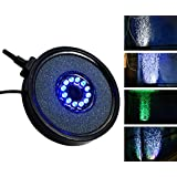 Liibot Aquarium Fish Tank Air Curtain Bubble Stone Disk with 12 Multi-color LED Light (Round)