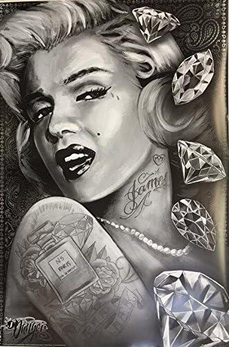 MARILYN MONROE DIAMONDS ART POSTER 24x36 TATTOO JAMES DANGER HARVEY 3253