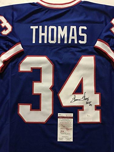 """Autographed/Signed Thurman Thomas""""HOF 07"""" Buffalo Blue Football Jersey JSA COA"""
