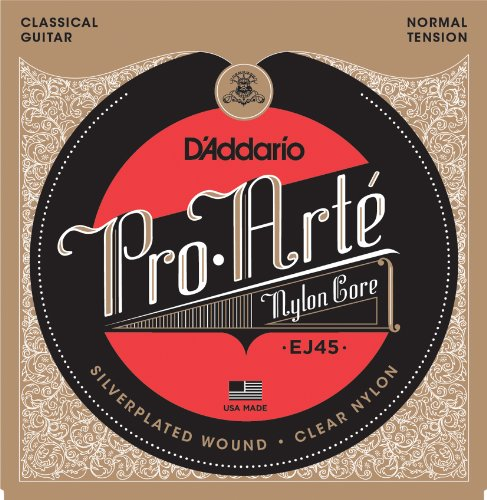D?Addario EJ45 Pro-Arte Nylon Classical Guitar Strings, Normal Tension ? Nylon Core Basses, Laser Selected Trebles - Offers Balance of Volume and Comfortable Resistance ? 1 Set