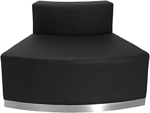 Flash Furniture HERCULES Alon Series Black LeatherSoft Convex Chair with Brushed Stainless Steel Base