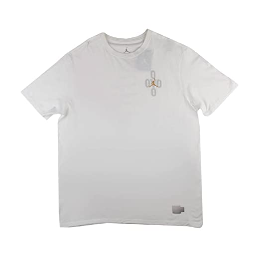 ff032d5b57a0fe Image Unavailable. Image not available for. Color  Nike Mens Air Jordan 10  OVO T-Shirt White Grey-Gold Size XXXL