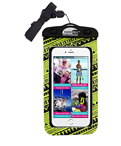 SwimCell #1 Waterproof Phone Case For iPhone 6+ Samsung Note and large Android phones Tested to 10m. Easy to Use. Fits Phones 4''x 7.5''.Up to 7 inch Screen. PHNY01 (Neon Yellow) by SwimCell