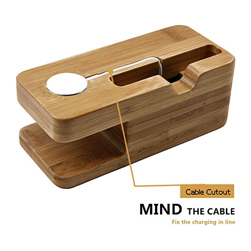 Apple Watch Stand, Hapurs iWatch Bamboo Wood Charging Dock Charge Station Stock Cradle Holder for Apple Watch Both 38mm and 42mm & iPhone 6 6 Plus 5S 5