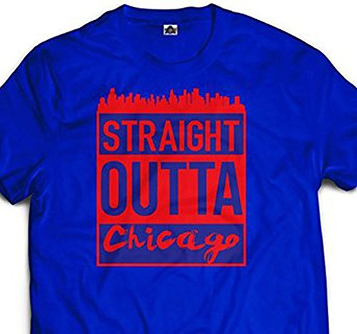 Mens Chicago Skyline T shirt Tee Straight Outta North Side Chi town Windy City -
